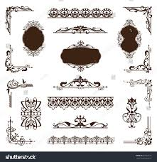 vintage ornamental borders frames corners decorated stock vector