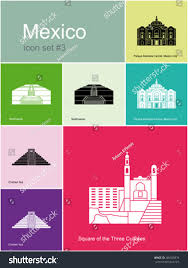 landmarks mexico set color icons metro stock vector 285659876