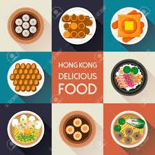 collection cuisine top view of delicious hong kong dishes collection in flat style