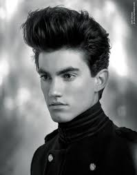 rock and roll inspired 50s haircut with a quiff for guys