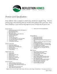 Premier Homes Floor Plans Premier Level Reflection Homes
