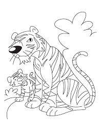 mother tiger baby tiger cub coloring download free