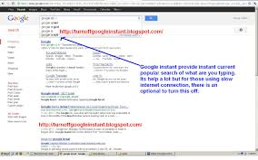 how to turn off google instant search with screenshot how to turn