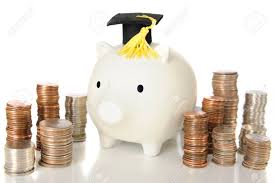 graduation piggy bank a white piggy bank wearing a graduation cap he s surrounded