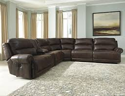 Leather Reclining Sofa With Console by 6 Piece Reclining Sectional With Console By Signature Design By