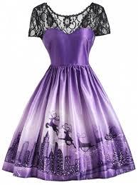 violet dress christmas elk lace yoke vintage dress purple print dresses 2xl zaful