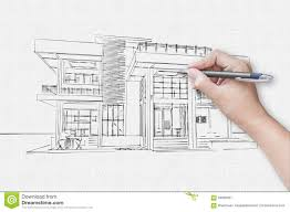 architect hand drawing a house stock photo image 59958931
