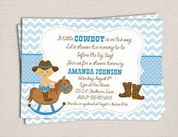theme cowboy baby shower invitations