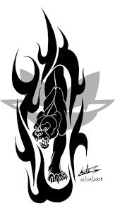 black tribal panther design panther