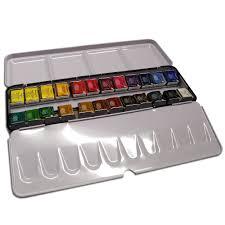 artists u0027 watercolour half pan 24 set with metal travel case art