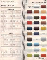 ford capri paint chart color reference