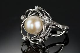 diamond pearl rings images Pearl engagement ring pearl diamonds ring vintage pearl ring jpg