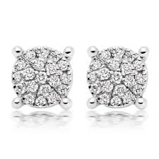 cluster stud earrings 9ct white gold diamond cluster stud earrings 0008088