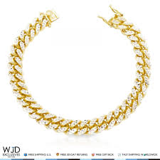 chain bracelet with diamond images Yellow gold over silver diamond cut 11mm wide miami cuban link jpg