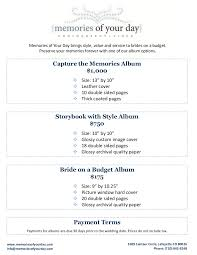 wedding album prices wedding album pricing memories of your day