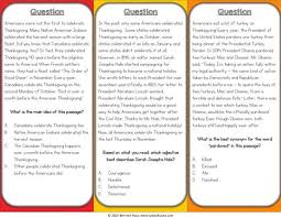 thanksgiving reading comprehension board 4 gains