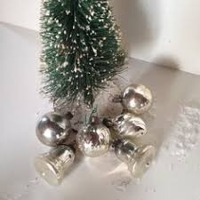 antique silver glass ornament dimpled tear drop shape german