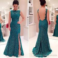 dresses for new year s green lace sheer evening gowns backless split side trumpet prom