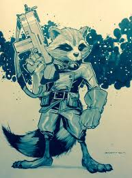 rocket raccoon sketch by san on deviantart