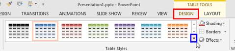 table tools design tab table styles in powerpoint 2013 for windows windows powerpoint