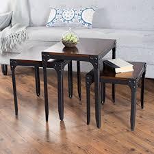 belham living trenton industrial end table amazon com belham living trenton industrial nesting table set