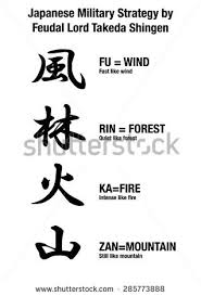 Japanese Fu Meaning Vector Calligraphy Wind Forest Mountain Stock Vector 285773888