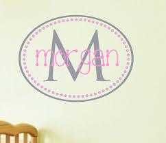 custom wall decals for nursery name wall decal nursery monogram decal oval dots vinyl