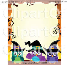 Free Halloween Border by Clipart Of A Group Of Witch Owls In A Halloween Border Royalty