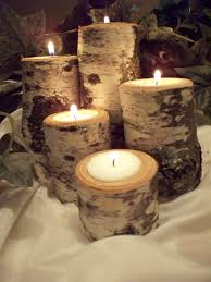 birch tea light candle holder set of five rustic natural birch