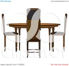 cartoon of a round dining room table and chairs royalty free