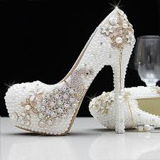 wedding shoes size 12 fashion luxury pearls crystals rhinestone white ivory wedding