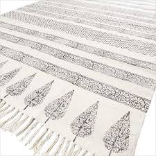 Flat Weave Cotton Area Rugs Black White Flat Weave Woven Cotton Block Print Area Accent