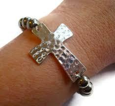 beaded bracelet with cross images Hammered cross beaded bracelet jpg