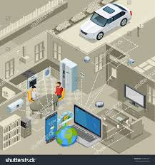 internet things smart urban home interior stock vector 519665761