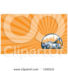 Tow Truck Business Cards Royalty Free Rf Clipart Illustration Of A Retro Styled Logo Of A