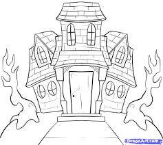 drawn haunted house line drawing simple pencil and in color