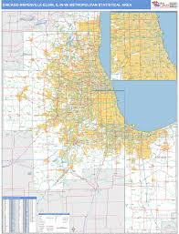 chicago zip code map chicago naperville elgin il metro area wall map basic style by