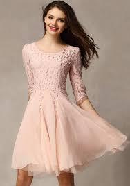 light pink knee length dress pink patchwork ruffle 3 4 sleeve knee length homecoming lace dress