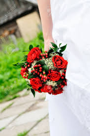 Red Wedding Bouquets Bride Holding Red Roses Bouquet Stock Photos U0026 Pictures Royalty