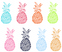 extra large pineapple party in multicolor wallpaper theartwerks