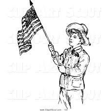 Vintage Flag Art Clipart Of A Old Fashioned Retro Vintage Black And White Scout Boy