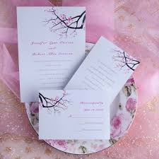 wedding invitations with response cards cherry blossom wedding invites with response card ewi064