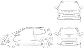 2007 renault twingo ii hatchback blueprints free outlines
