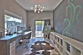 Office Chandelier Contemporary Home Office With Built In Bookshelf U0026 Hardwood Floors
