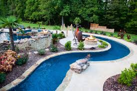 Pool Ideas For Backyard Backyard Lazy River Pool Design With Stone Liner And Concrete