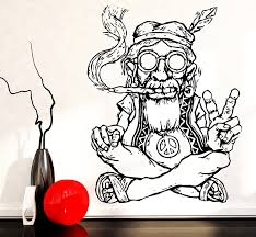 amazon com vinyl decal wall sticker hippie in glasses smoking amazon com vinyl decal wall sticker hippie in glasses smoking weed marijuana peace symbol ethnic decor z2173 m 22 5 in x 33 in black home kitchen