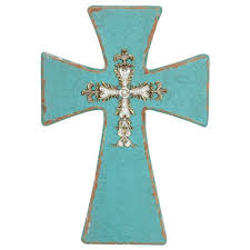 decorative crosses decorative wooden crosses wall cross distressed turquoise wooden