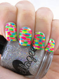 i feel polished sparkly neon nail art