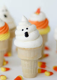 Halloween Cupcakes Ghost Ghost Cupcake Cones Recipe Confessions Of A Cookbook Queen