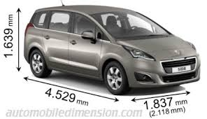 peugeot 5008 dimensions dimensions of peugeot cars showing length width and height